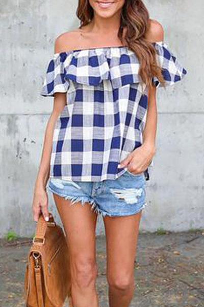 Off Shoulder  Flounce  Checkered T-Shirts