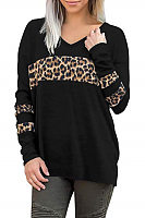 Casual V Neck Long Sleeve Leopard T-Shirt