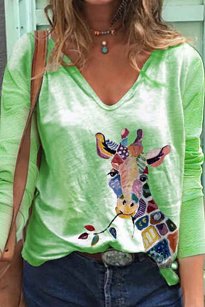 Printed V Neck Long Sleeve T-shirt