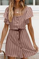 Square Neck  Single Breasted  Striped  Short Sleeve Skater Dresses