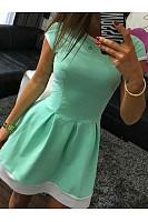 Round Neck Inverted Pleat Color Block Mini Skater Dress