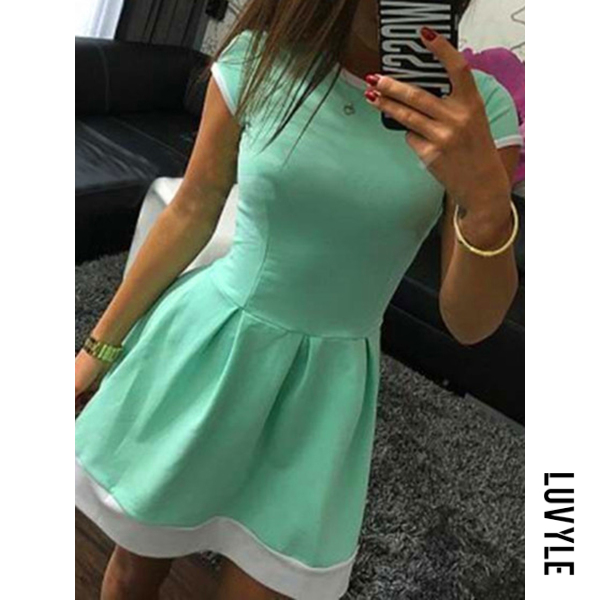 Light Blue Round Neck Inverted Pleat Color Block Mini Skater Dress Light Blue Round Neck Inverted Pleat Color Block Mini Skater Dress