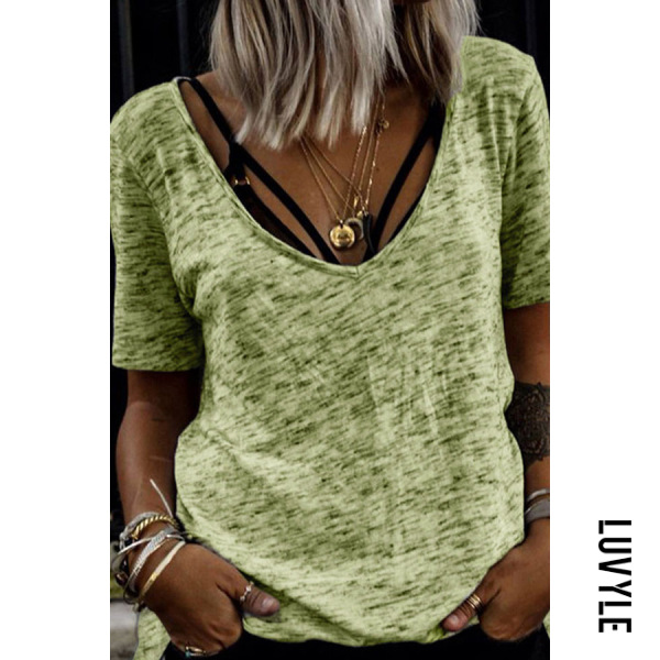 Light Green V Neck Casual T-Shirts Light Green V Neck Casual T-Shirts