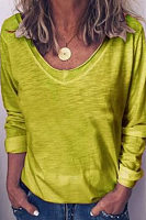 V Neck Plain Loose-Fitting Casual T-Shirts