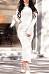 High Neck  Slit  Plain  Long Sleeve Bodycon Dresses