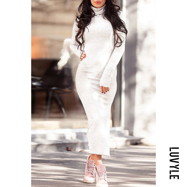White High Neck Slit Plain Long Sleeve Bodycon Dresses White High Neck Slit Plain Long Sleeve Bodycon Dresses