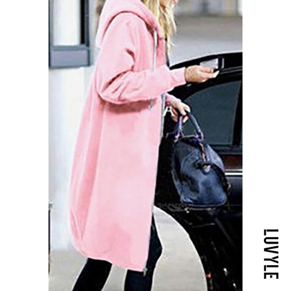 Pink Fashion Long Sleeve Loose Hoodie Coat Pink Fashion Long Sleeve Loose Hoodie Coat