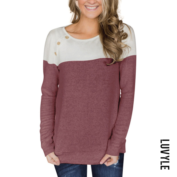 Claret Red Button-Decorated Long-Sleeved T-Shirt Claret Red Button-Decorated Long-Sleeved T-Shirt