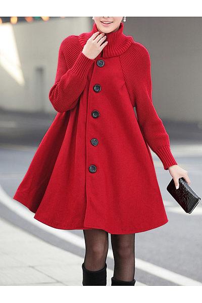 High Neck Patchwork Plain Woolen Coat