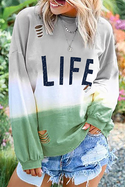 Casual Printed Colour Long Sleeve Colouring Round Neck Sweatshirt