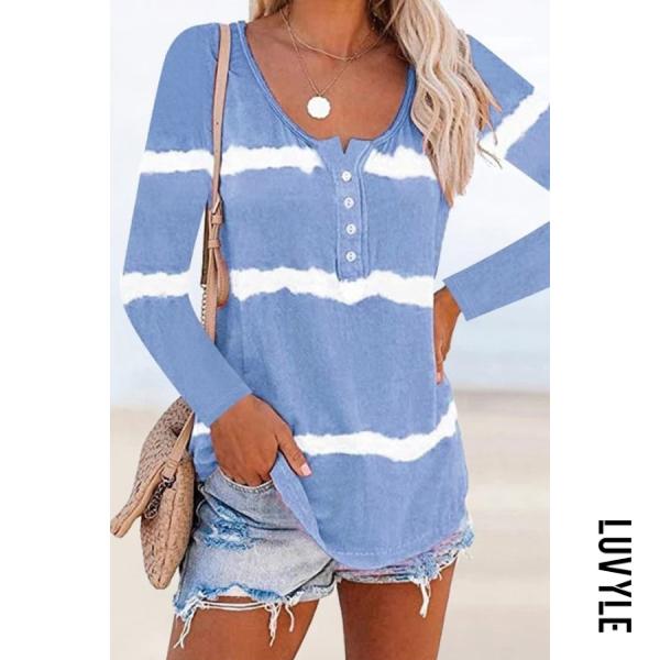 Tie-dye Printed Fashion Long Sleeve Button T-shirt