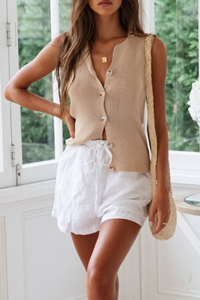 Small Lapel  Single Breasted  Plain Camis