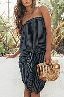 Strapless  Asymmetric Hem  Striped  Sleeveless Casual Dresses