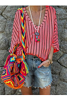 V Neck Half Sleeve Striped Casual Blouses