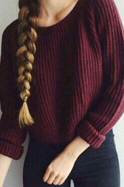 Round Neck  Side Slit  Plain Sweaters