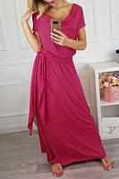 Cowl Neck  Belt  Plain  Short Sleeve Maxi Dresses