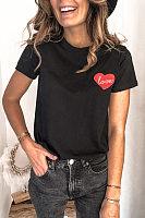 Round Neck Short Sleeve Heart T-shirt