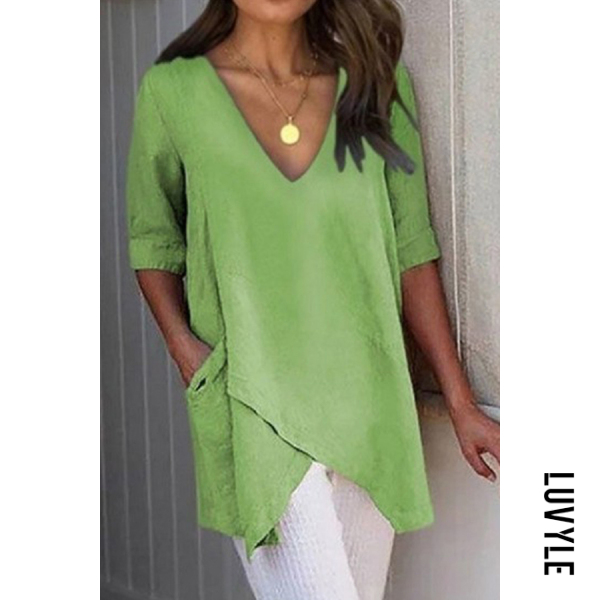 Green V Neck Patchwork Brief Plain Half Sleeve T-Shirts Green V Neck Patchwork Brief Plain Half Sleeve T-Shirts
