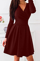 V-Neck  Plain Skater Dress