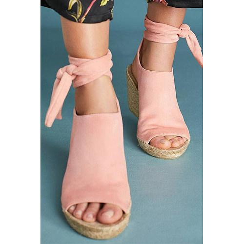 Plain  Velvet  Peep Toe  Casual Date Wedge Sandals