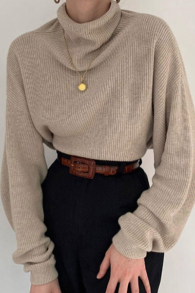 Vintage Heap Collar Loose-Fitting Sweater
