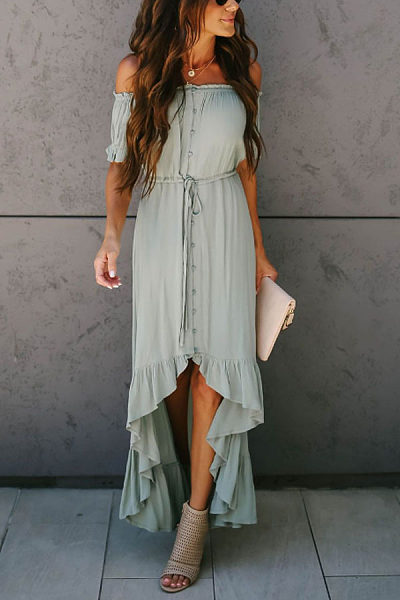 Off Shoulder  Asymmetric Hem  Plain  Short Sleeve Maxi Dresses
