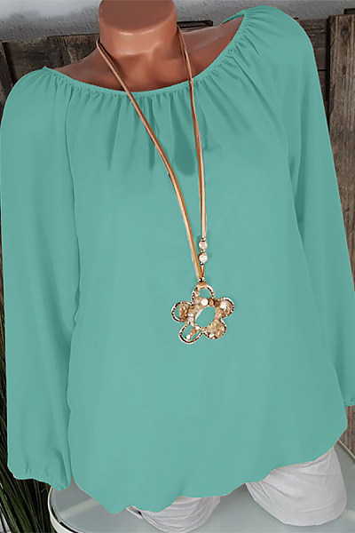 Brief Round Neck Long Sleeve Pure Colour Loose Blouse