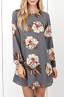 Round Neck  Bowknot  Back Hole  Floral Printed Casual Dresses