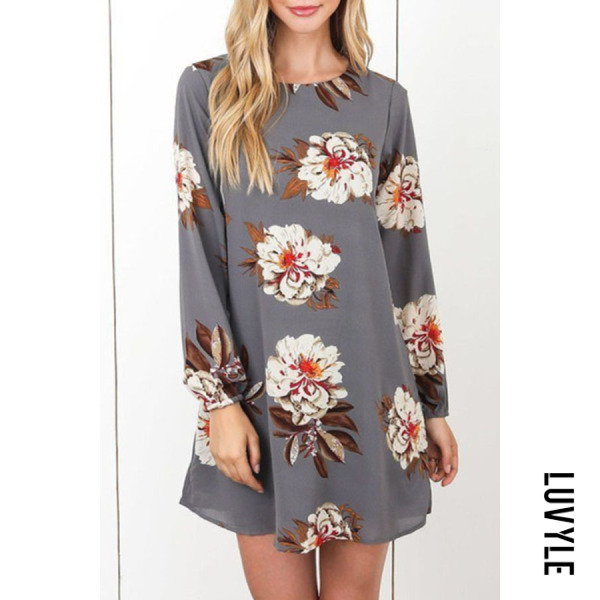 Gray Round Neck Bowknot Back Hole Floral Printed Casual Dresses Gray Round Neck Bowknot Back Hole Floral Printed Casual Dresses