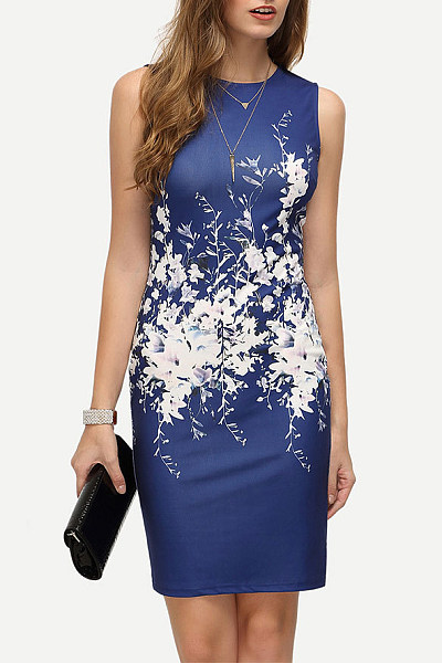 Crew Neck Floral Printed Fitted Bodycon Dress