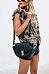 Casual Camouflage Chest Pocket Loose Short   Sleeve Blouse T-Shirt