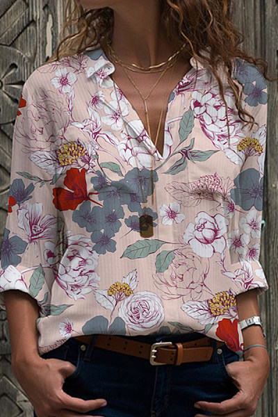 Turn Down Collar Floral Print Long Sleeve Blouse