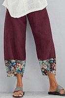 Printed Colorblock Casual Pants