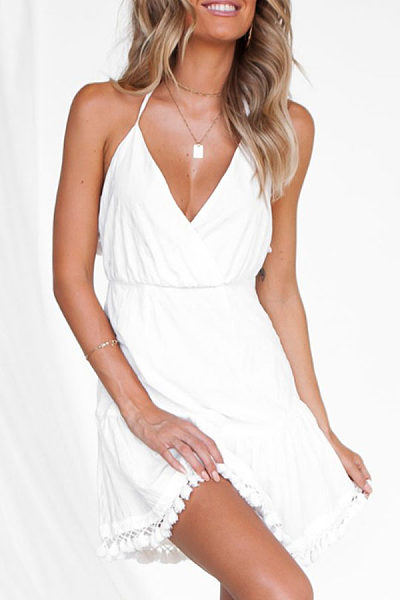 Spaghetti Strap  Fringe  Plain  Sleeveless Casual Dresses