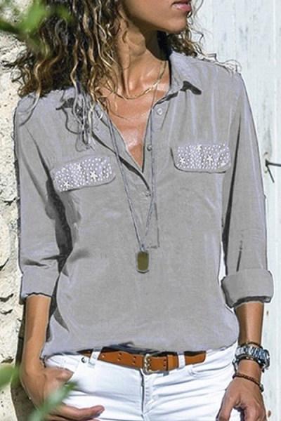 Lapel Star Pocket Patchwork Long Sleeve Blouses