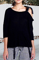 Asymmetric Neck  Patchwork  Plain T-Shirts