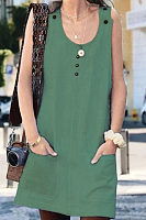 Round Neck  Plain  Sleeveless Casual Dresses