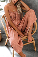 Casual Scoop Neck Printed Wide Leg Spaghetti Strap Jumpsuits