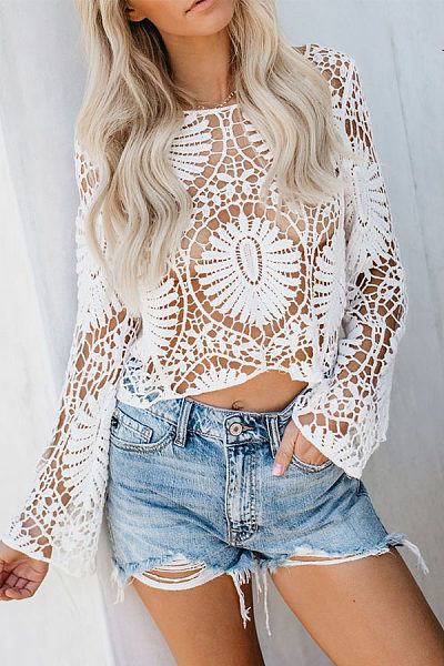 Sexy Floral Hollow Out Knit Long Sleeve Blouse   T-Shirt