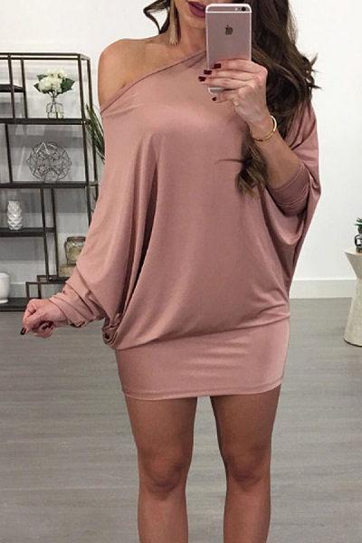 One Shoulder  Plain  Batwing Sleeve Bodycon Dresses