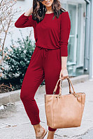 Women Casual Belt Plain Jumpsuits