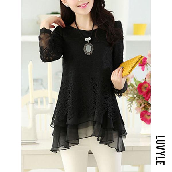 Black Asymmetric Hem Hollow Out Plain Long Sleeve T-Shirt Black Asymmetric Hem Hollow Out Plain Long Sleeve T-Shirt