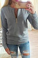 Round Neck  Zipper  Patchwork Sweatshirts