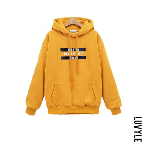 Yellow Letters Long Sleeve Loose Hoody Yellow Letters Long Sleeve Loose Hoody