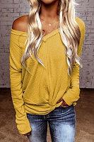 V Neck Knit Plain T-Shirt