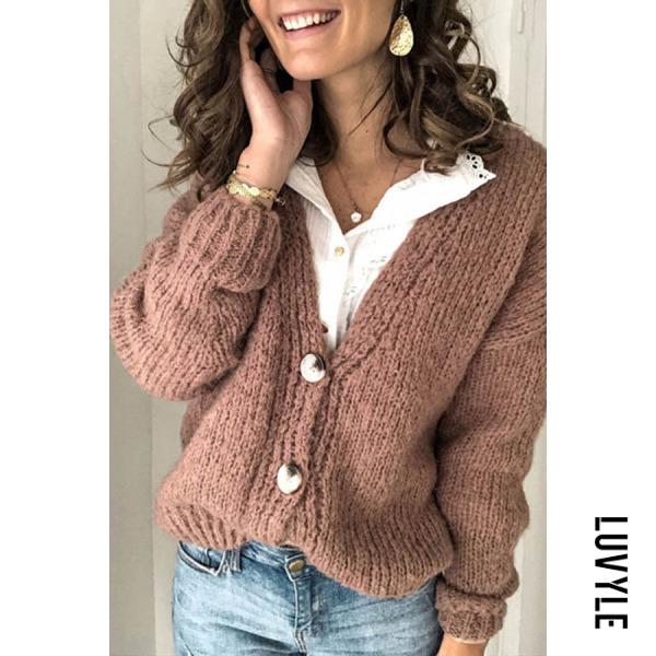 Women's solid color V-neck knit cardigan BJ31 - from $30.00