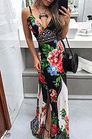 Spaghetti Strap  Side Slit  Floral  Maxi Dresses