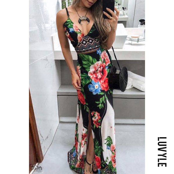 Spaghetti | Floral | Strap | Dress | Slit