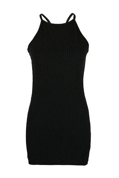 Round Neck  Plain  Sleeveless Bodycon Dresses