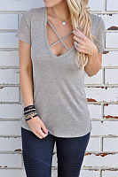 V Neck  Slit  Plain T-Shirts